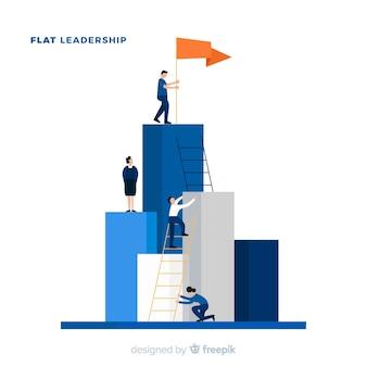 Leiderschap concept in vlakke stijl