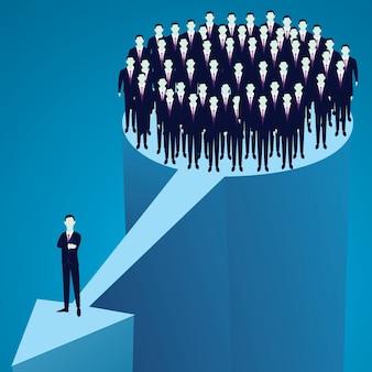 Leiderschap concept. manager toonaangevend team van werknemers die voorwaarts gaan