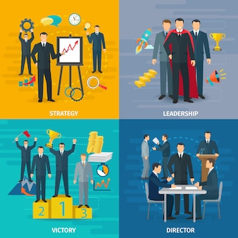 Leiderschap concept pictogrammen instellen met strategie overwinning en regisseur symbolen