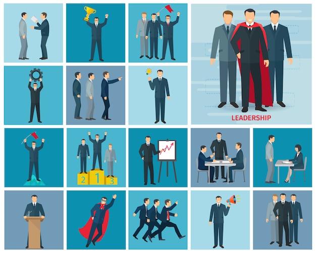 Leiderschap en succeskarakters die met idee en projectsymbolen vlak geïsoleerde vectorillustratie worden geplaatst