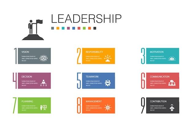 Leiderschap infographic 10 optie lijn concept.verantwoordelijkheid, motivatie, communicatie, teamwork eenvoudige pictogrammen