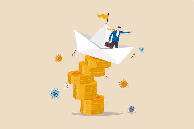 Leiderschap om zakelijk en financieel probleem op te lossen in coronavirus covid-19 crisisconcept, zakenmanleider commando onstabiele origami-boot op stapel dollargeldmunten met coronavirus-pathogeen.