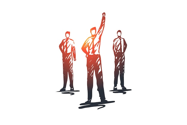 Leiderschap, team, teamwerk, mensen, groepsconcept. hand getekend bedrijfsleider met team concept schets.