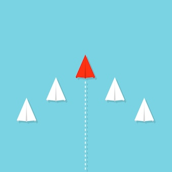 Leiderschap, teamwerk menigte papier vliegtuig, vliegtuig.
