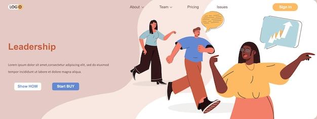 Leiderschap webconcept doelen bereiken motivatie en succesvolle strategie carrière