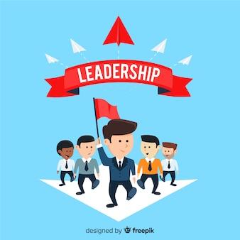Leiderschapsachtergrond in vlak ontwerp