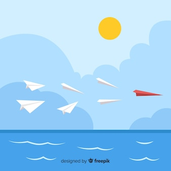 Leiderschapsontwerp met papieren vliegtuigen