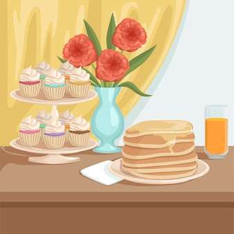 Lekker ontbijt op houten tafel