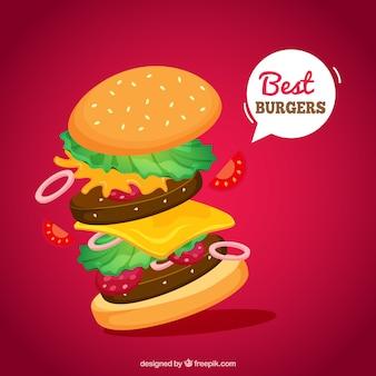 Lekkere hamburger in vlakke vormgeving