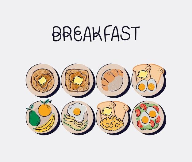 Lekkere ontbijtpictogrammen
