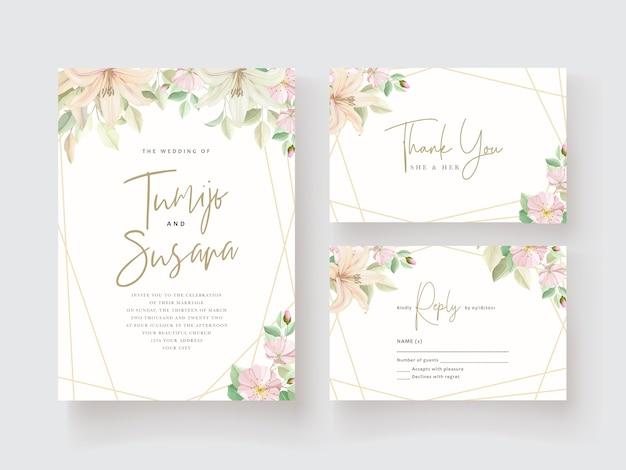 Lelie bloem bruiloft uitnodigingskaart