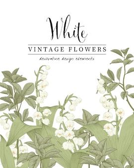 Lelie van de vallei bloem en magnolia blad tekening illustratie