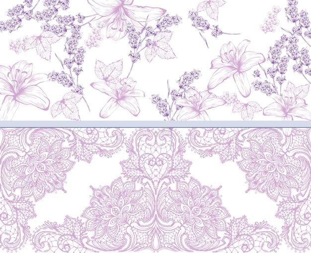 Lelies en lavendel kant kaart