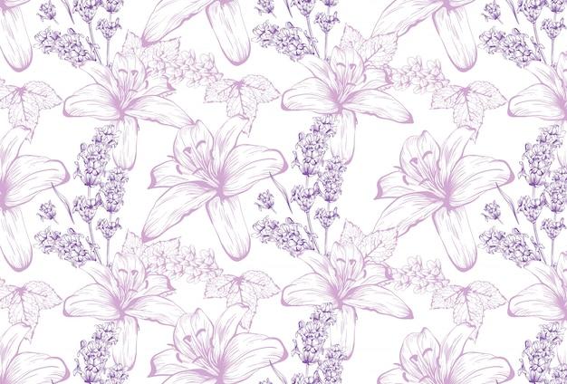 Lelies en lavendel patroon achtergrond