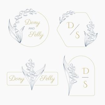 Lelietje-van-dalen bruiloft bloem logo luxe set visitekaartje pictogrammen