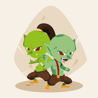 Lelijk sprookjesachtig trollen avatar-personage