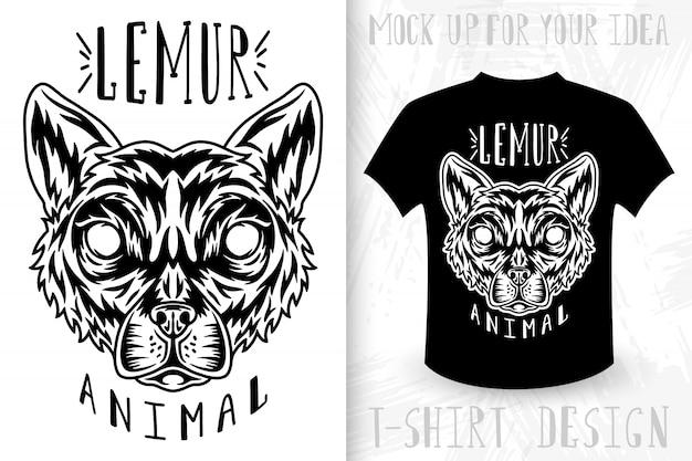 Lemur gezicht. t-shirt print in vintage zwart-wit stijl.