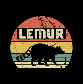 Lemur vector zonsondergang sillhouete