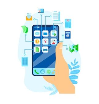 Lening geld, economische financiën smartphone bankieren illustratie. zakelijke financiële investeringen en veiligheidsconcept. valuta-inkomsten en groei