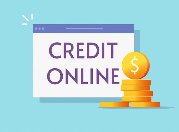 Lening krediet online op internet of lenen web geld contant via op computer laptop plat