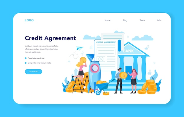 Leningmanager, webbanner voor kredietovereenkomst of bestemmingspagina.