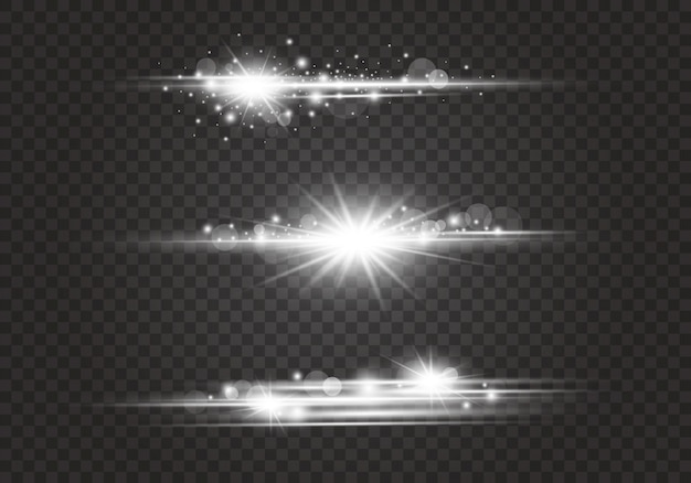 Lens fakkels en lichteffecten op transparante achtergrond