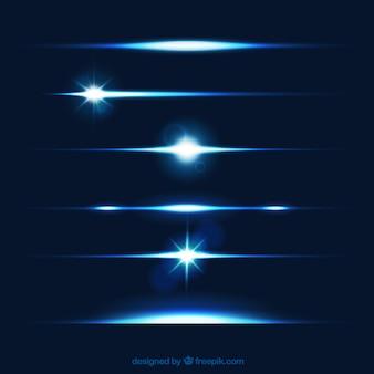 Lens flare verdelers collectie in blauwe kleur