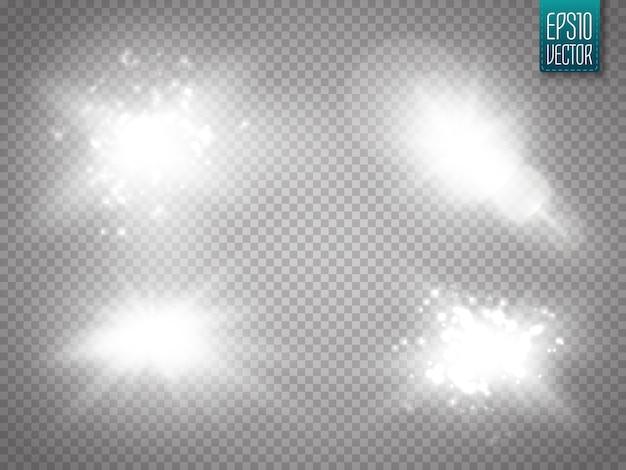 Lens flares geïsoleerd. vector illustratie glans sterrenlicht gloeiend lichteffect