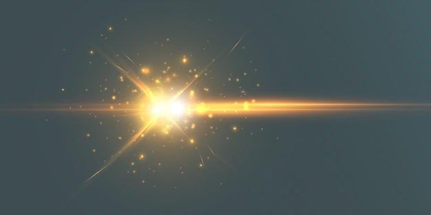 Lens flitslichteffect zonnestralen met stralen