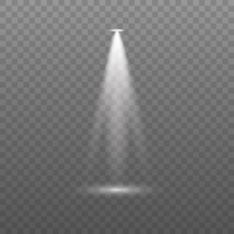 Lensflitslichteffect van een lamp of schijnwerper schijnt op het podiumscène podium