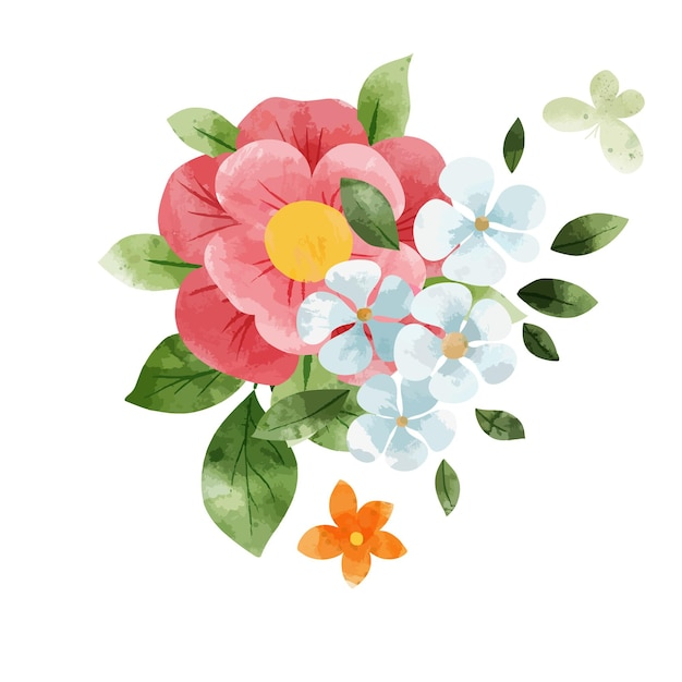 Lente abstract bloemenboeket. kleine bloemenelementen. hand getekend aquarel illustratie.