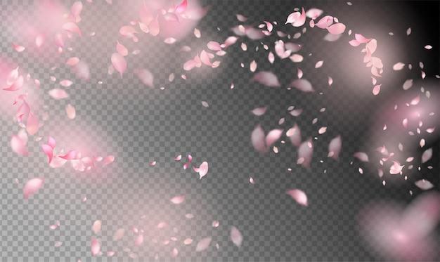 Lente achtergrond met vliegende bloemblaadjes