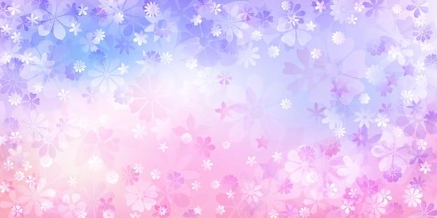 Lente achtergrond van verschillende bloemen in paarse kleuren