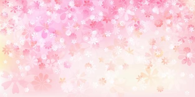 Lente achtergrond van verschillende bloemen in roze en perzik kleuren