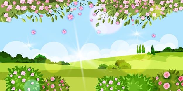 Lente achtergrond zomer bloem landschap met gras, bomen, weide, sakura bloesem, groene struiken, heuvels. landelijk platteland dorp milieu seizoen uitzicht, zon, wolken. lente rustiek landschap
