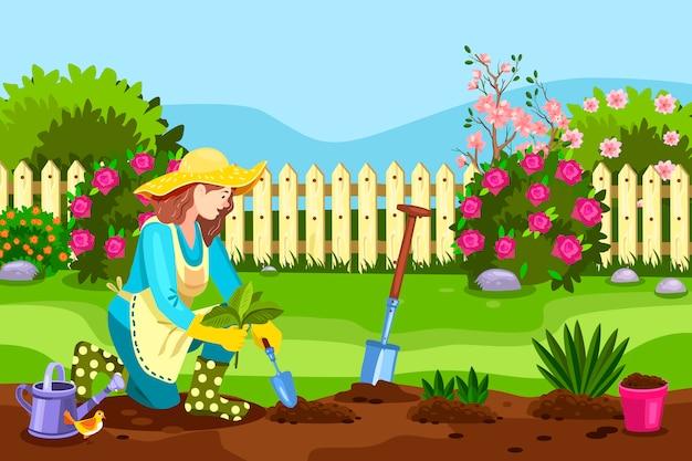 Lente achtertuin concept met jonge vrouw, hek, bloeiende struiken, rozen, schop, vogel, gieter