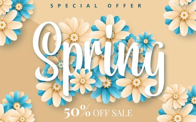 Lente banner met papieren bloemen voor online winkelen, reclameacties, tijdschriften en websites
