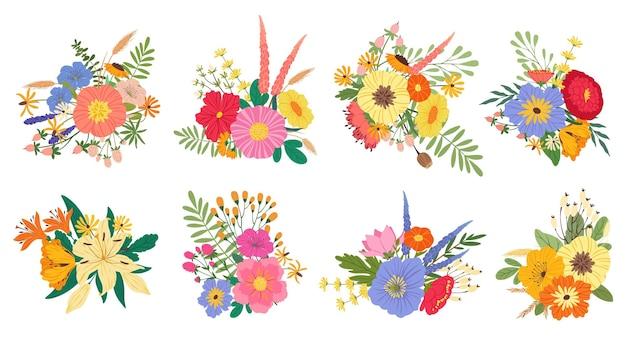 Lente bloeiende bloemboeketten bloemen bruiloft lelies pioenrozen wilde bloemen vector set