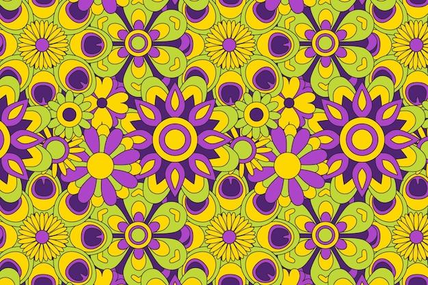 Lente bloeiende groovy bloemmotief
