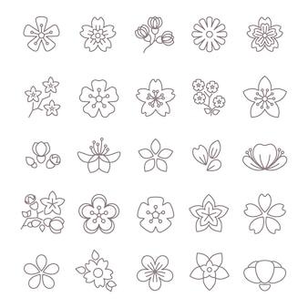 Lente bloem dunne lijn vector pictogrammen instellen
