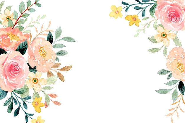 Lente bloem frame achtergrond met aquarel