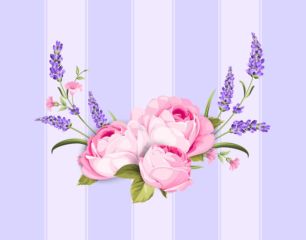 Lente bloemen boeket op paarse lijnen