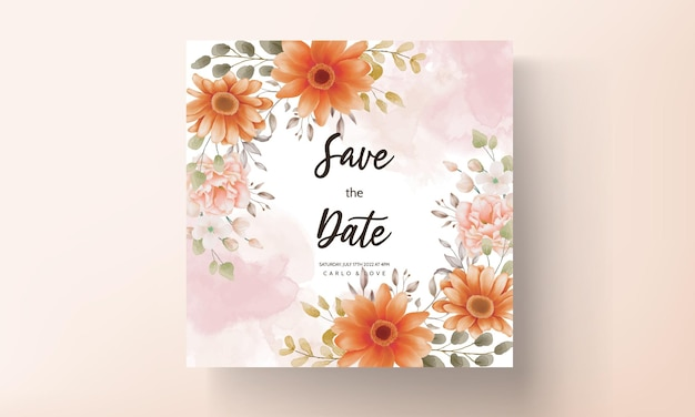 Lente bloemen bruiloft uitnodiging ontwerpsjabloon instellen