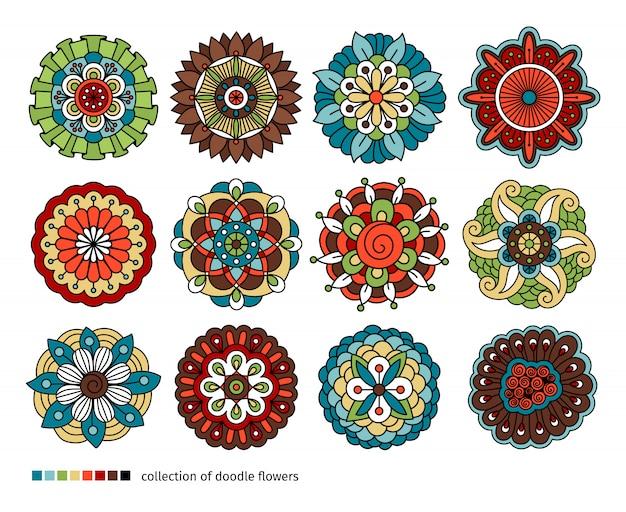 Lente bloemen doodle elementen