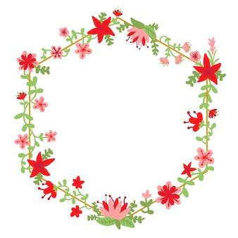 Lente bloemen frame in de hand getekend