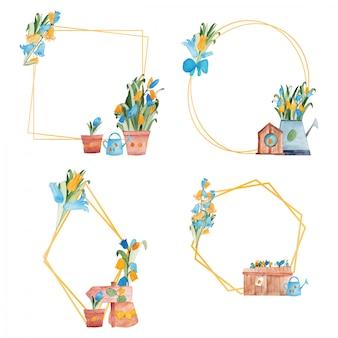 Lente bloemen geometrische frames groep