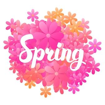 Lente bloemen kaart. vectorillustratie van seizoensgebonden ansichtkaart met handgeschreven letters.