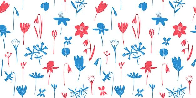 Lente bloemen kleuren naadloos patroon. hand getekende illustraties