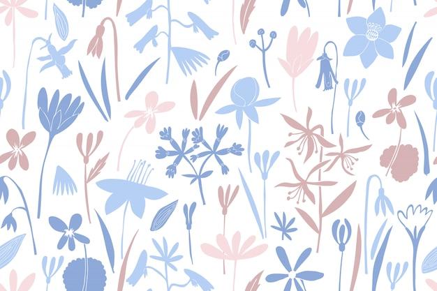 Lente bloemen kleuren naadloze vector patroon.