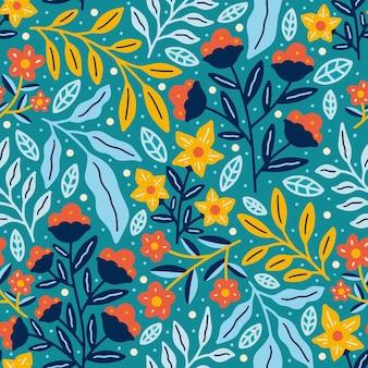 Lente bloemen natuur bloeiende bloemen naadloze patroon